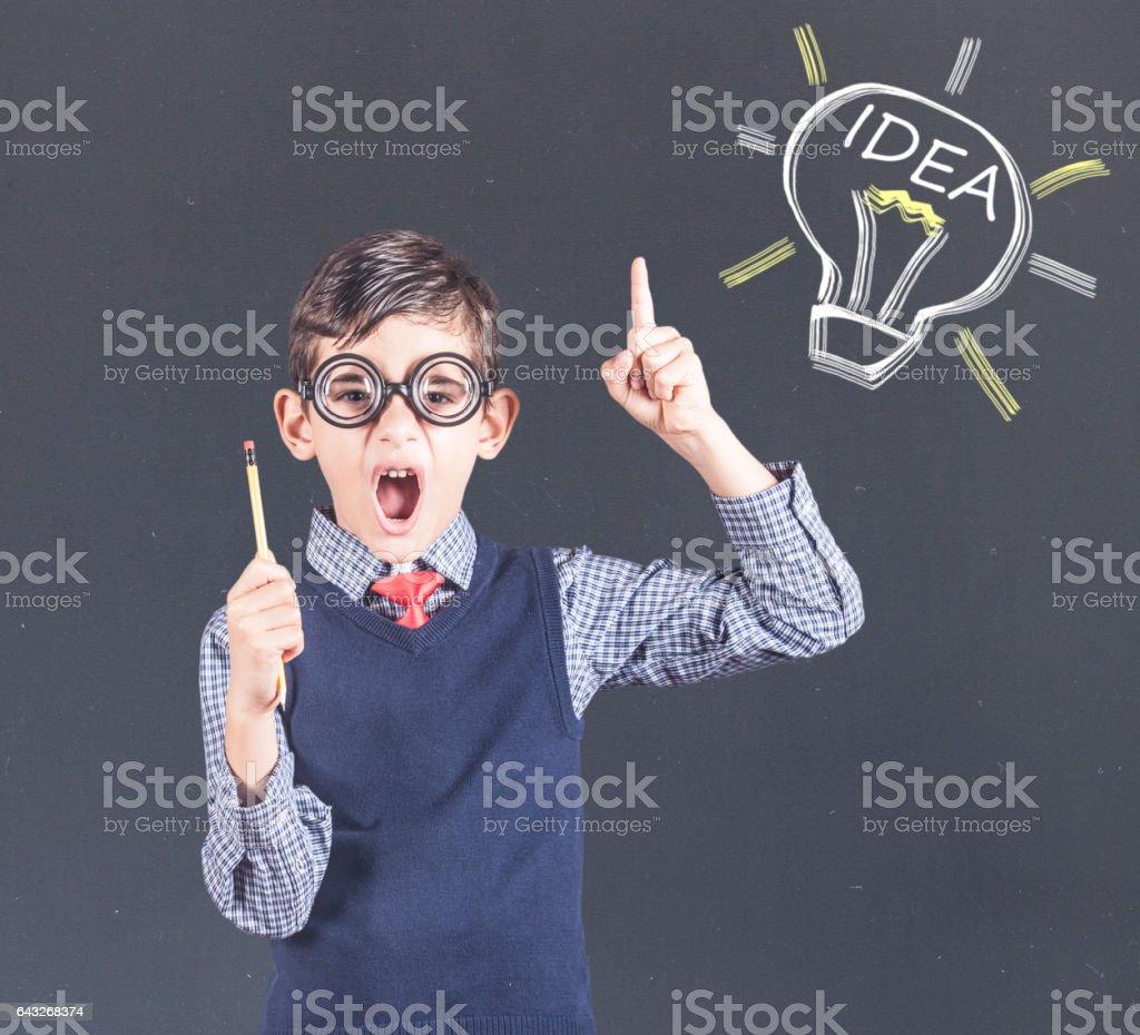 Smart little kid stock photo