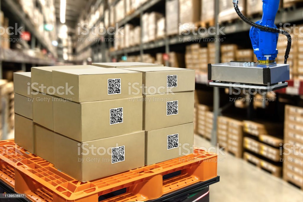 Smart logistic industry 4.0 , QR Codes Asset warehouse and inventory...