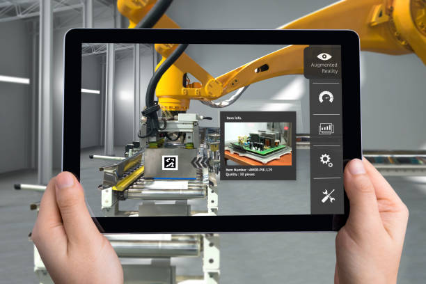 Smart Logistic warehouse technology , Augmented reality marketing , X-Ray packages box , industry 4.0 concept. Hand holding tablet to check items inside boxes. stock photo
