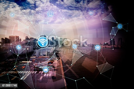 istock smart logistics and wireless communication network 613881746