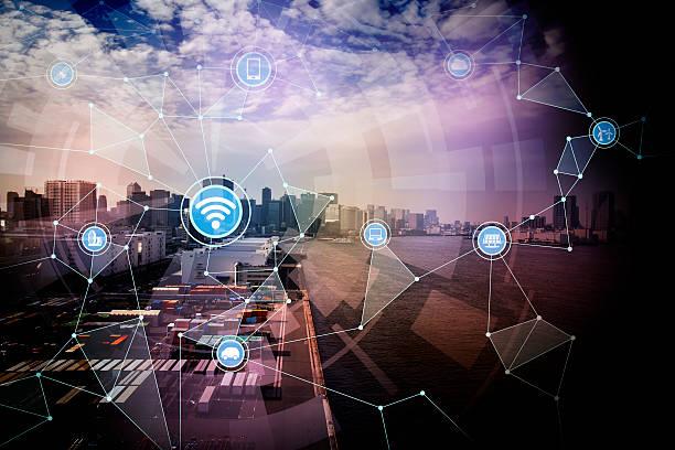smart logistics and wireless communication network stock photo