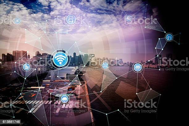 Smart Logistics And Wireless Communication Network Stock Photo - Download Image Now