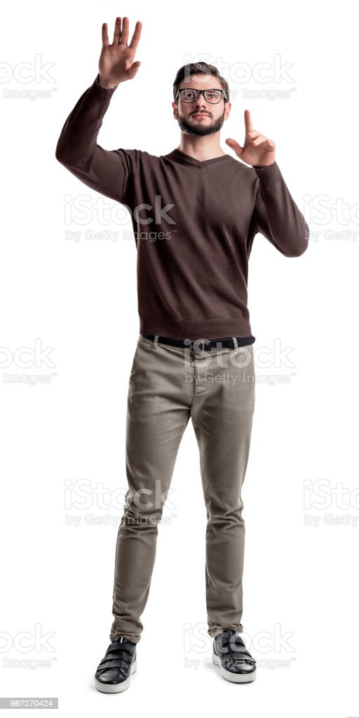A Smart Looking Bearded Man Looks Up And Holds His Hands As If