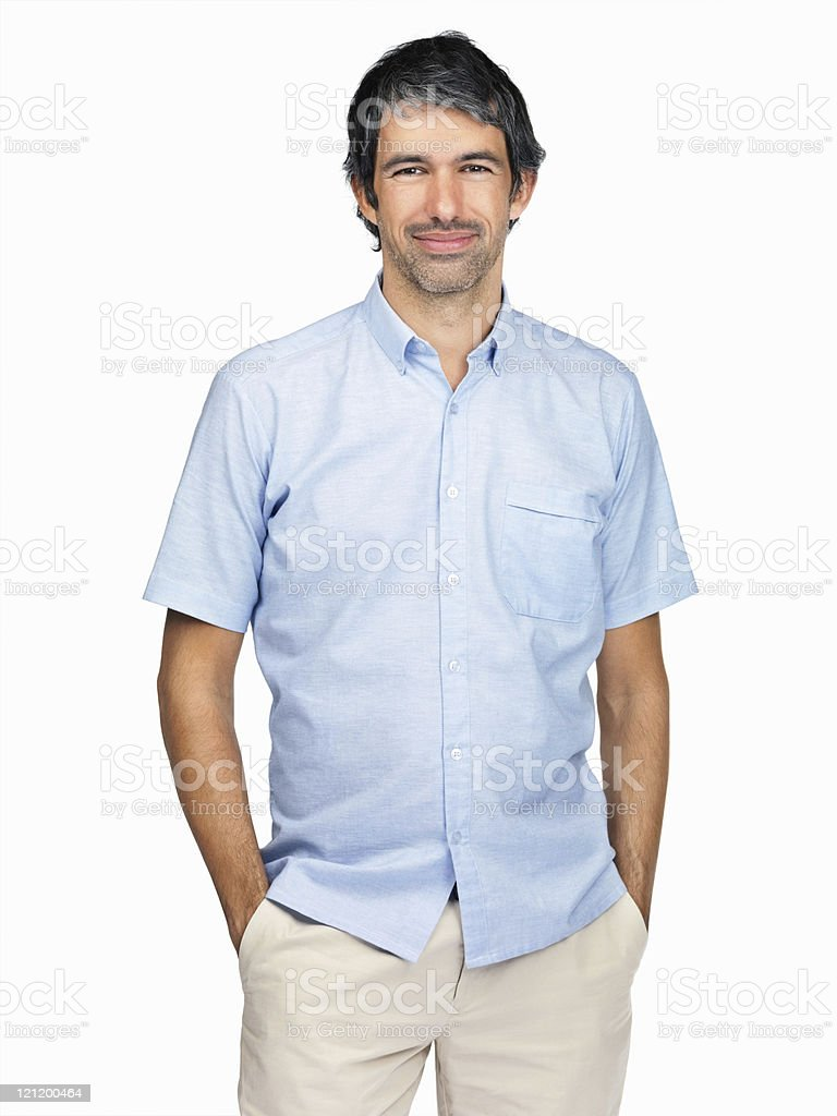 Smart mature man with hands in pockets isolated on white royalty-free stock photo