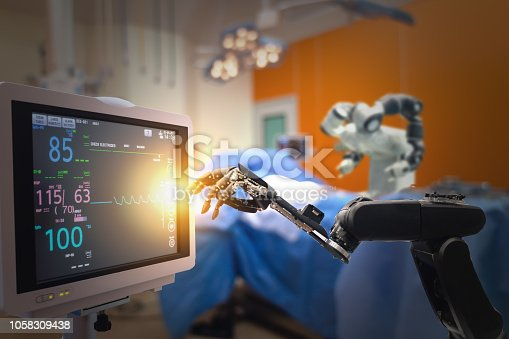 istock smart medical technology concept,advanced robotic surgery machine at Hospital, robotic surgery are precision, miniaturisation, smaller incisions, decreased blood loss, less pain,  quick healing time 1058309438