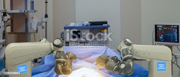 istock smart medical technology concept,advanced robotic surgery machine at Hospital, robotic surgery are precision, miniaturisation, smaller incisions, decreased blood loss, less pain,  quick healing time 1058309954