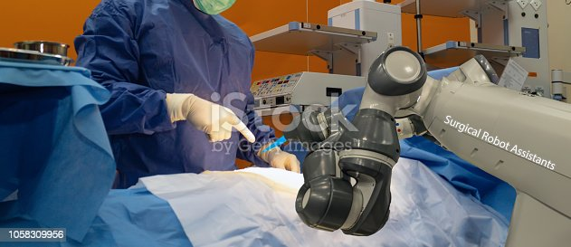 istock smart medical technology concept,advanced robotic surgery machine at Hospital, robotic surgery are precision, miniaturisation, smaller incisions, decreased blood loss, less pain,  quick healing time 1058309956