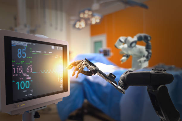 smart medical technology concept,advanced robotic surgery machine at hospital, robotic surgery are precision, miniaturisation, smaller incisions, decreased blood loss, less pain,  quick healing time - cybernetic stock pictures, royalty-free photos & images