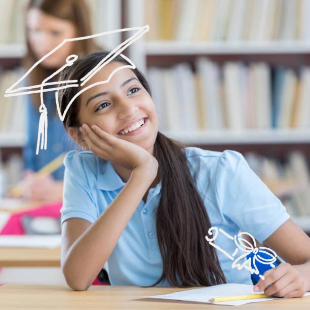 Intelligente Mittelschule Student träumt von dem Studium – Foto