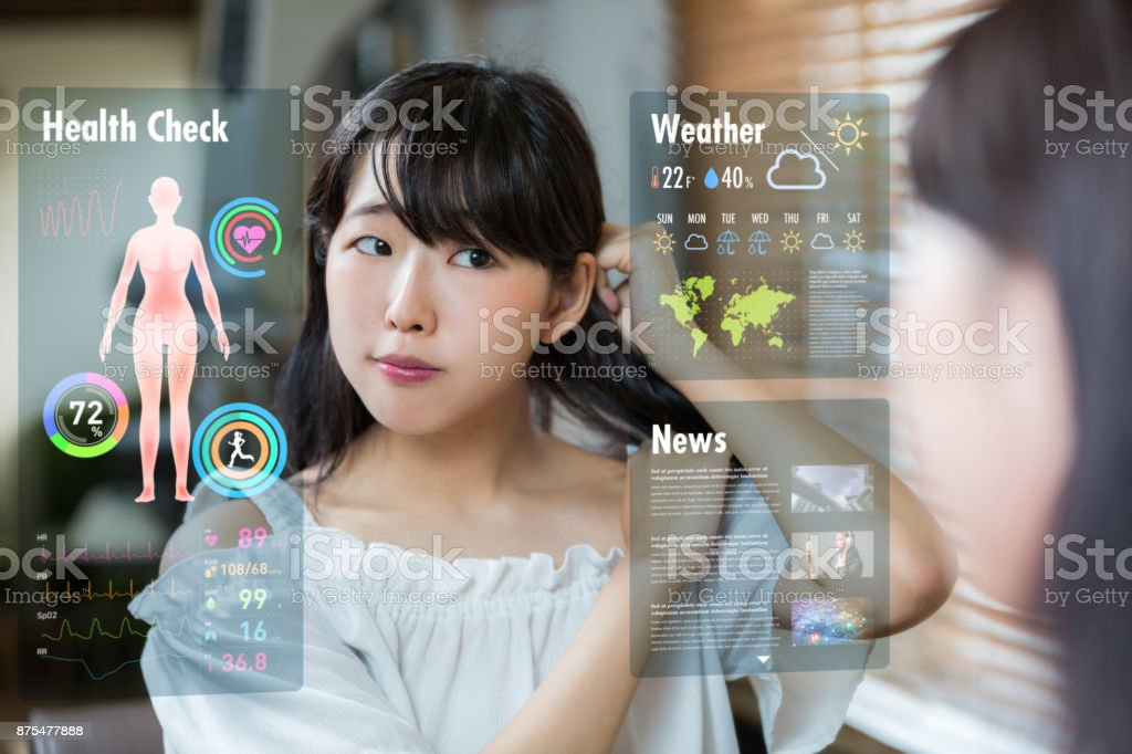Smart mirror concept. Various information displayed on mirror screen. stock photo