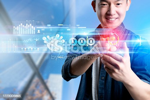 1127866562 istock photo Smart mobile gadget technology online video call meeting chat, social network IOT internet of thing hi-tech futuristic virtual hologram communication, online future lifestyle work from home technology 1223005865