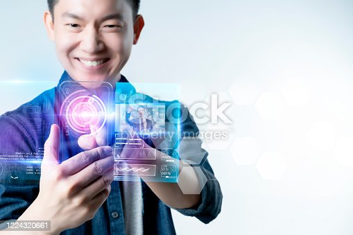 istock Smart mobile gadget technology online video call meeting chat, social network IOT internet of thing hi-tech futuristic virtual hologram communication, online future lifestyle work from home technology 1224320661