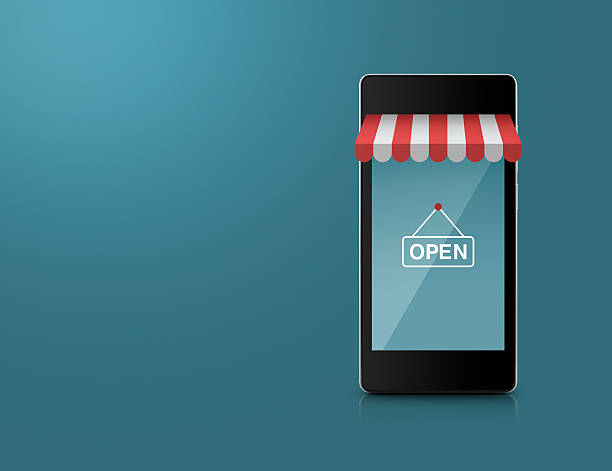 Smart mobile phone with on line shopping store graphic stock photo
