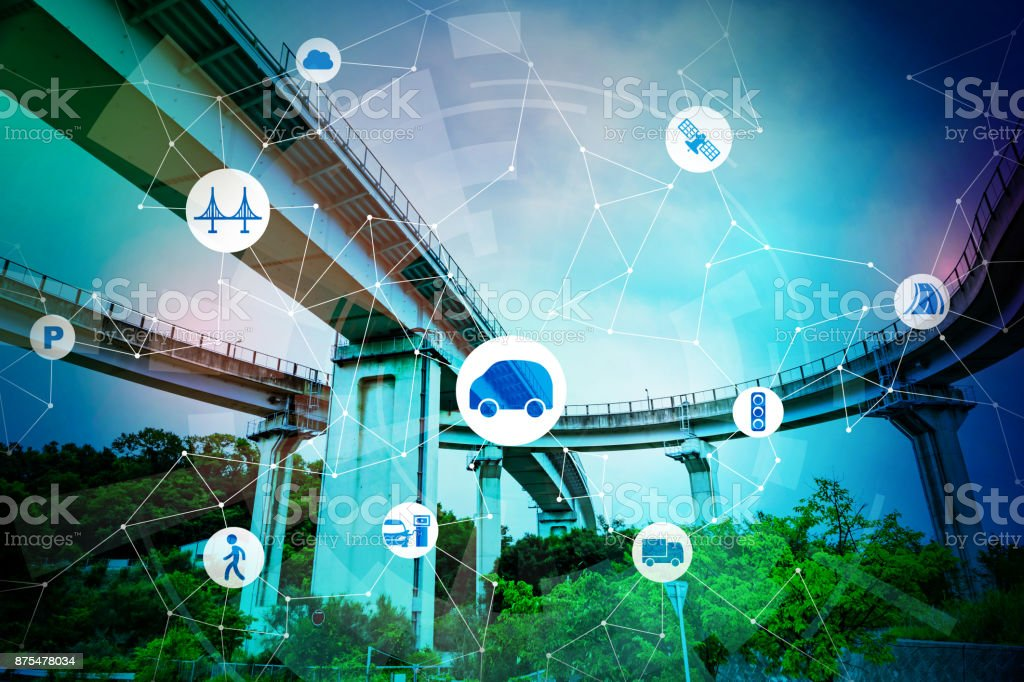 Smart mobility and communication network concept. Abstract mixed media. stock photo