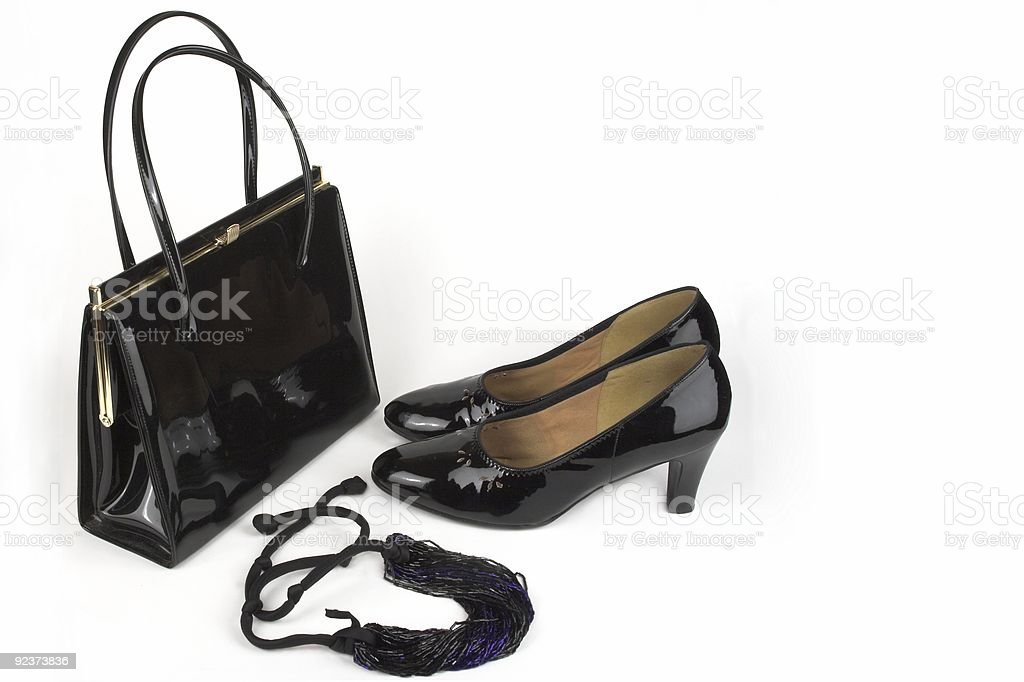Smart Patent Leather Ladies Shoes Handbag And Bead Necklace royalty-free stock photo