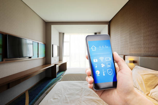smart phnone in modern bedroom stock photo