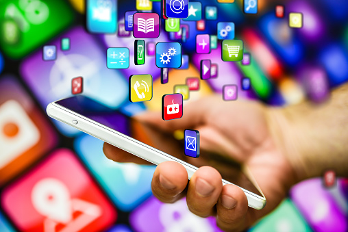 Smart Phone And Multicolored Apps Stock Photo - Download Image Now