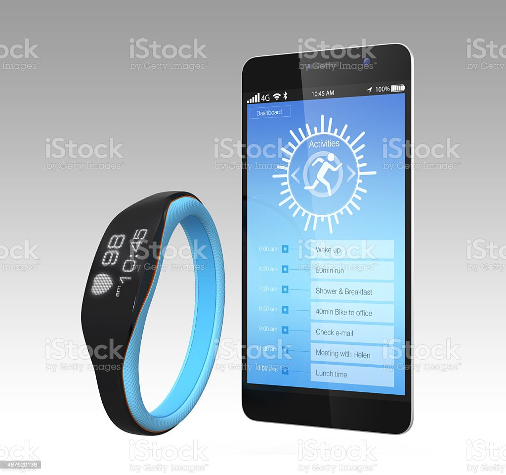 Smart phone and smart wristband stock photo
