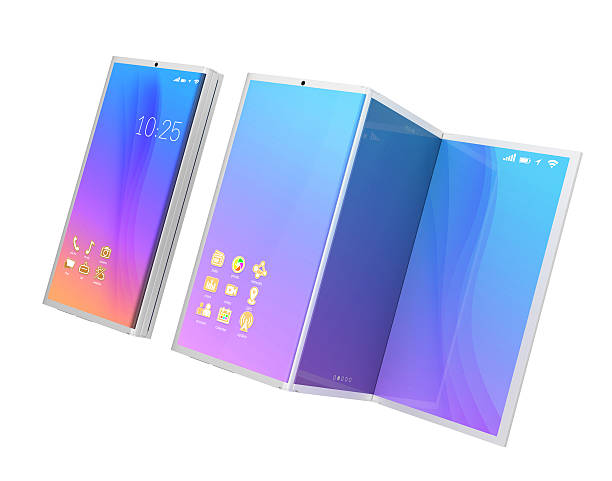 Smart phone and tablet PC Foldable smart phone, and the phone unfolded as tablet PC isolated on white background. 3D rendering image. Original design. foldable stock pictures, royalty-free photos & images