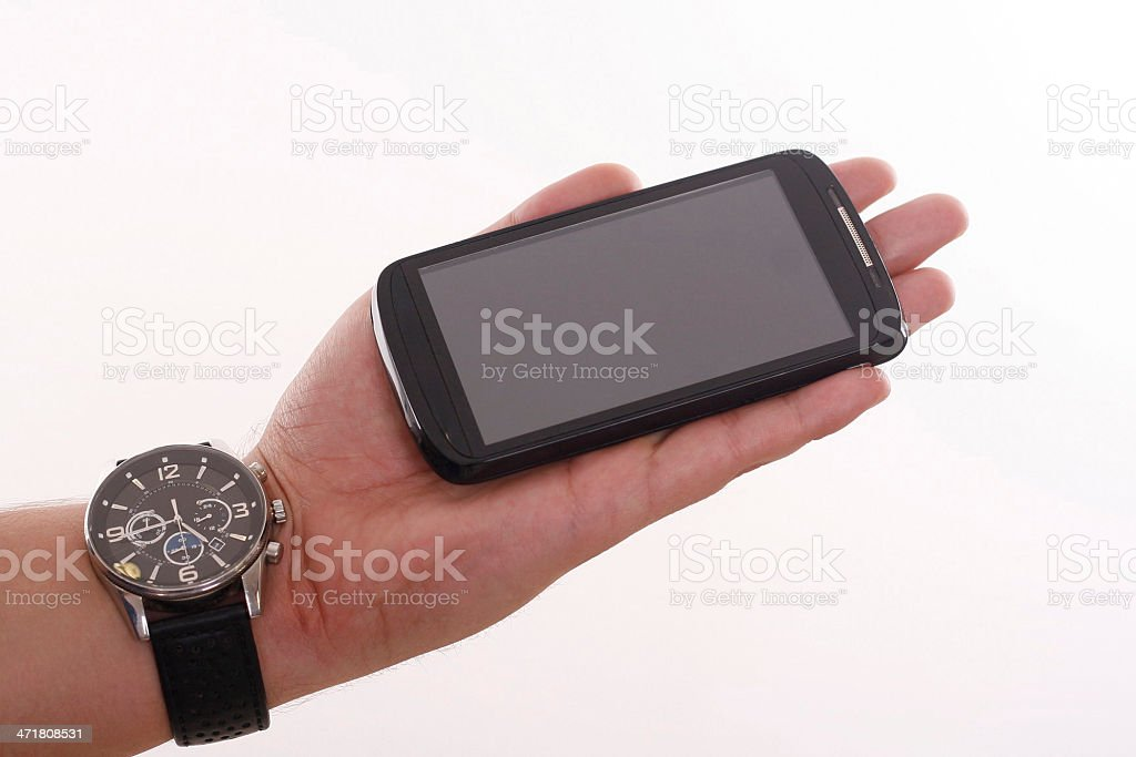 Smart Phone and Watch, Wristwatch royalty-free stock photo
