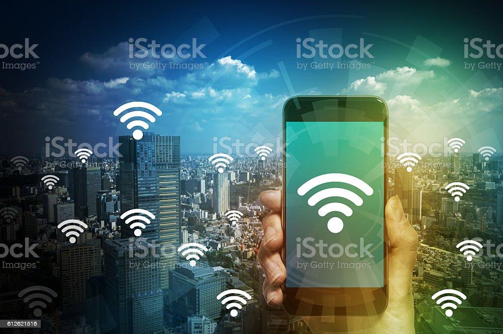 smart phone and wireless communication bildbanksfoto