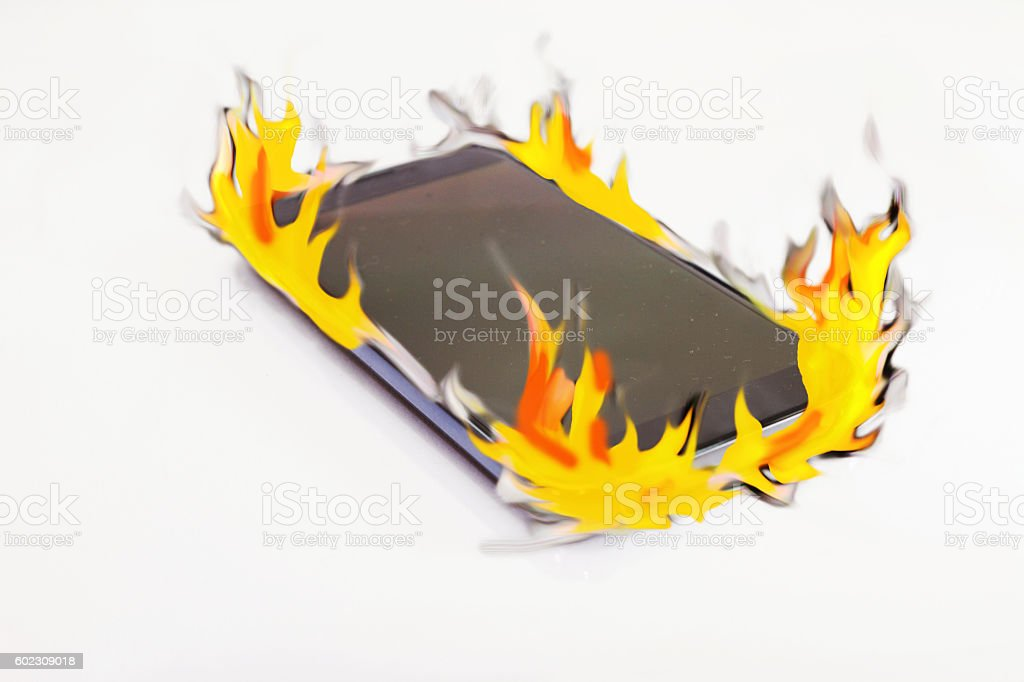 smart phone be burning bildbanksfoto