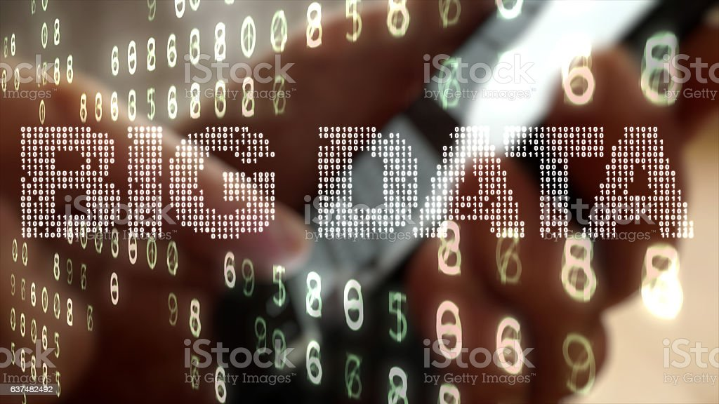 Smart phone close up with overlaid data graphics. stock photo