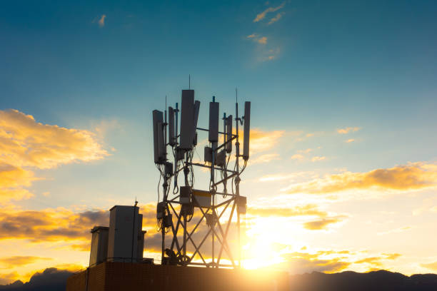 5G Smart Phone Communications Tower stock photo