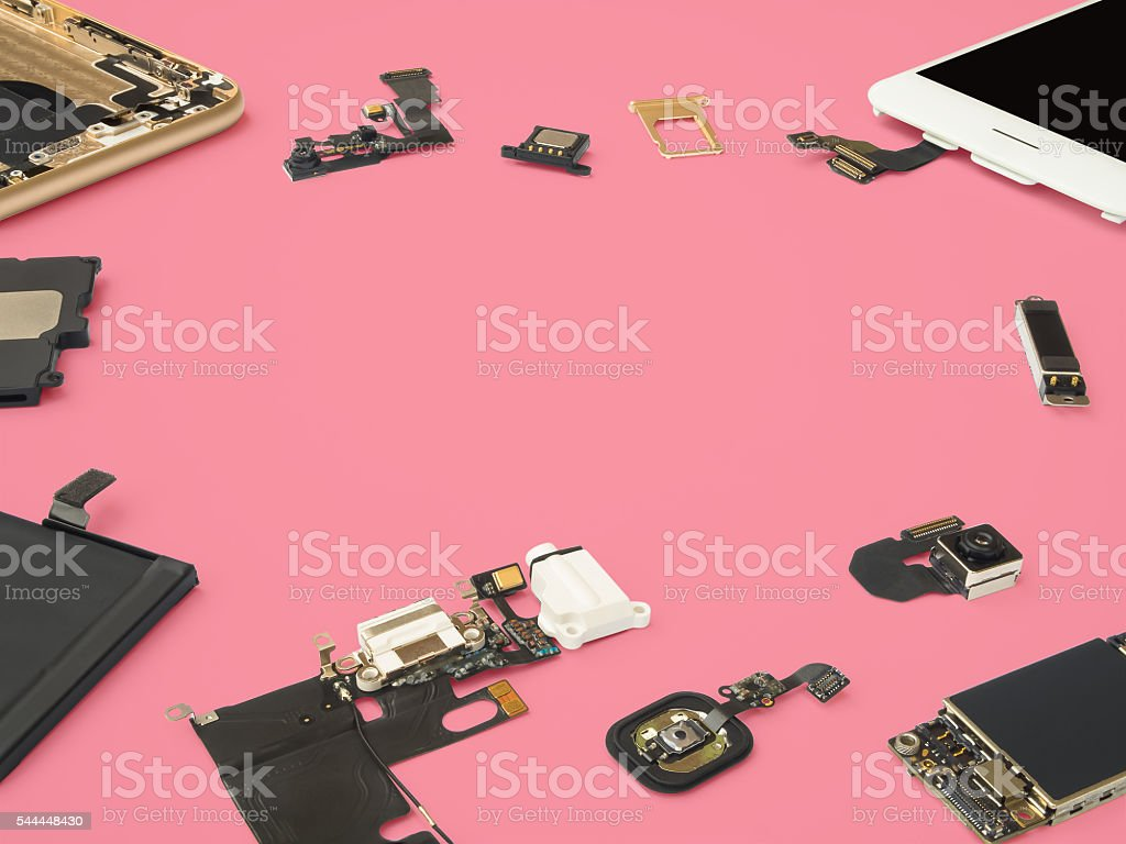 Smart phone components isolate on pink background stock photo