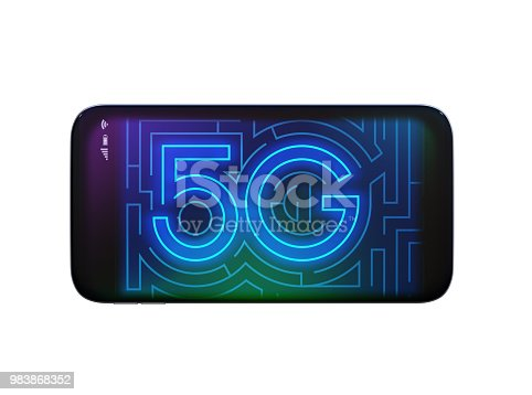 istock Smart phone display 5G text in maze style 983868352