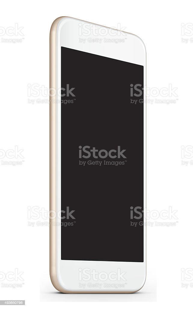 Smart phone gold - white color stock photo