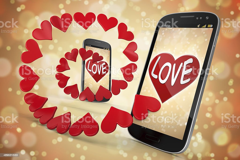 3D Smart Phone - Love and Heart on gold  Backgrounds royalty-free stock photo