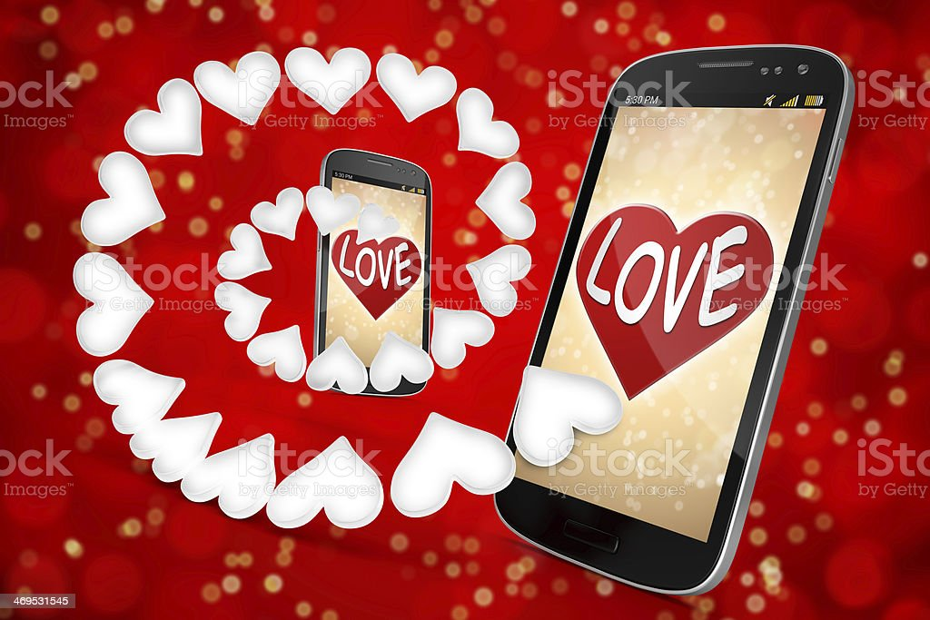 3D Smart Phone - Love and Heart on red  Backgrounds royalty-free stock photo