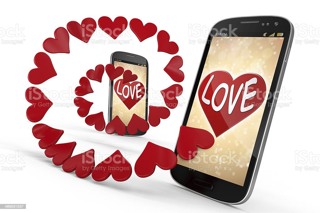 3D Smart Phone - Love and Heart on White  Backgrounds royalty-free stock photo