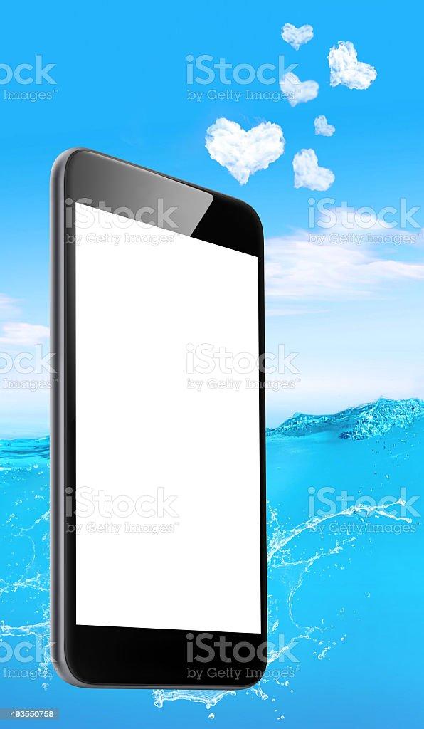Smart phone - Love heart clouds - Summer scene