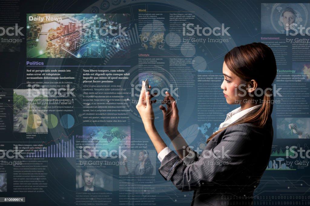 concept d'application smartphone nouvelles, médias de curation - Photo