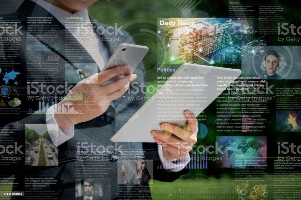 smart phone news application concept stock photo