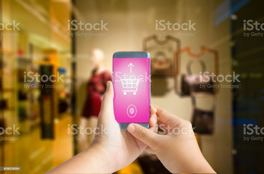Smart phone payment fashion concept stock photo