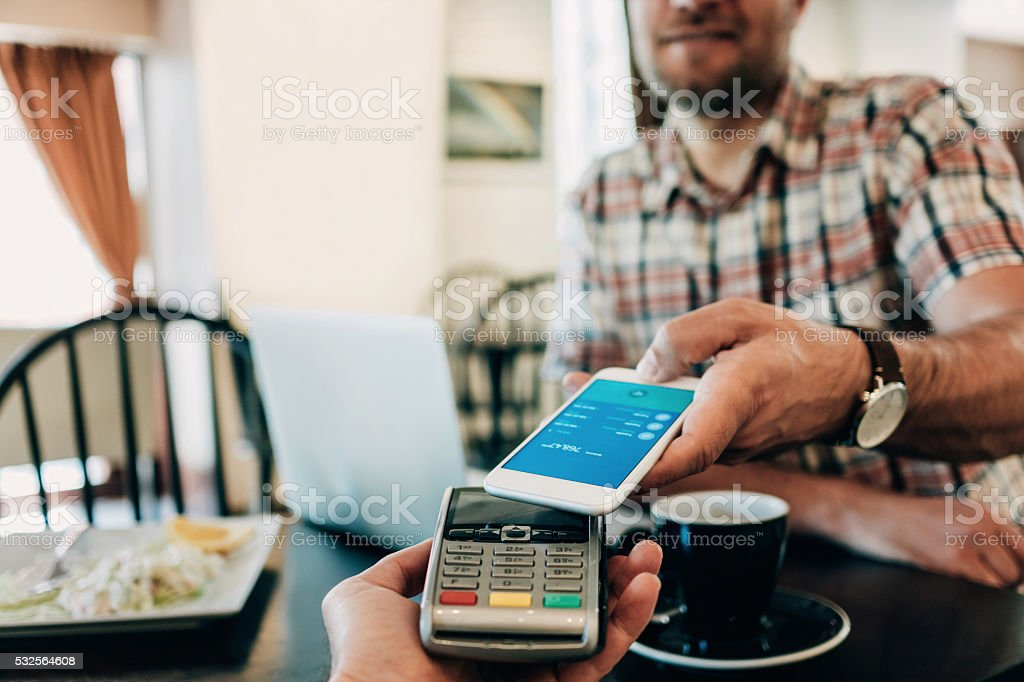 Smart phone payment stock photo