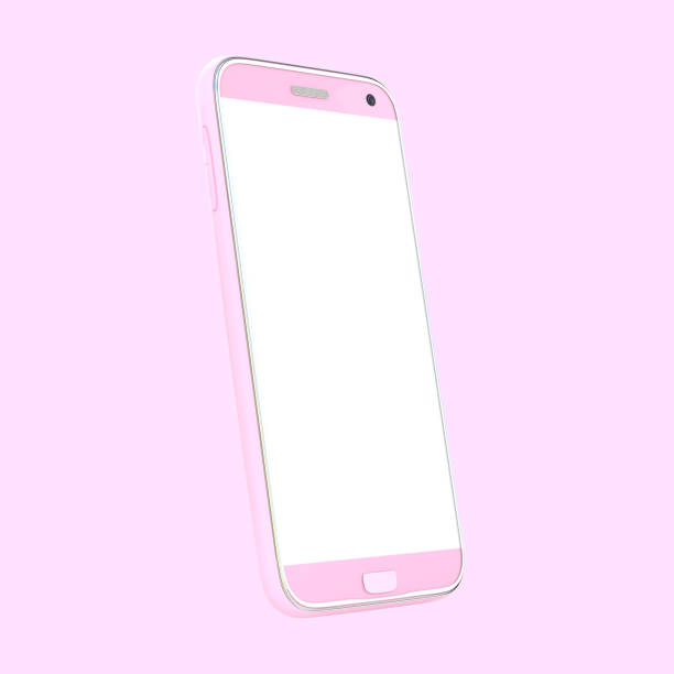 smart phone pink color mock up with white blank screen isolated and clipping path stock photo