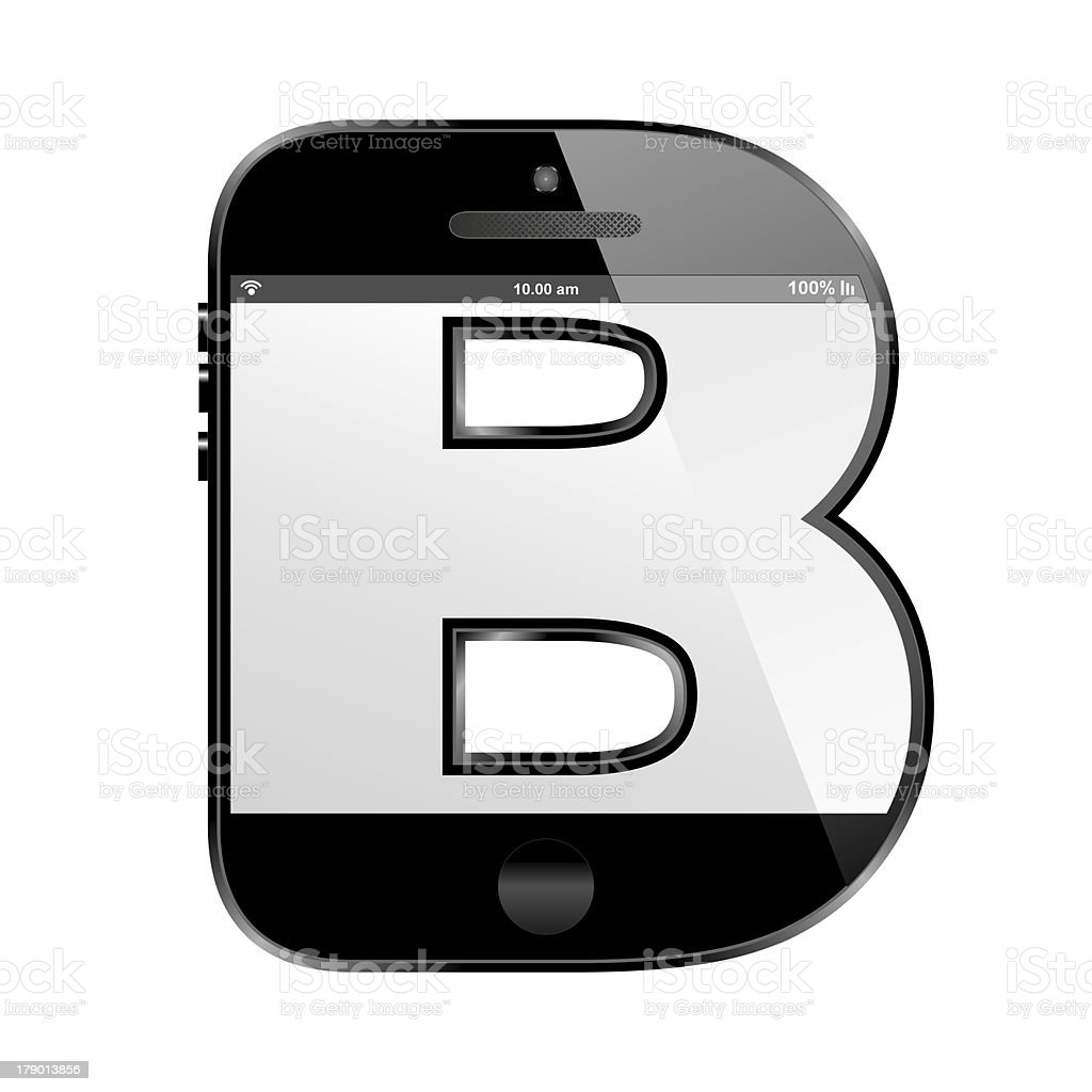 smart phone shaped, alphabet design letter, B royalty-free stock photo