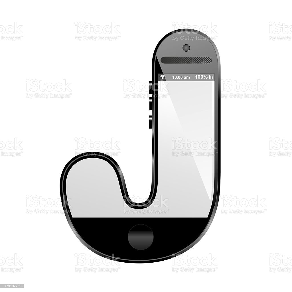 smart phone shaped, alphabet design letter, J royalty-free stock photo
