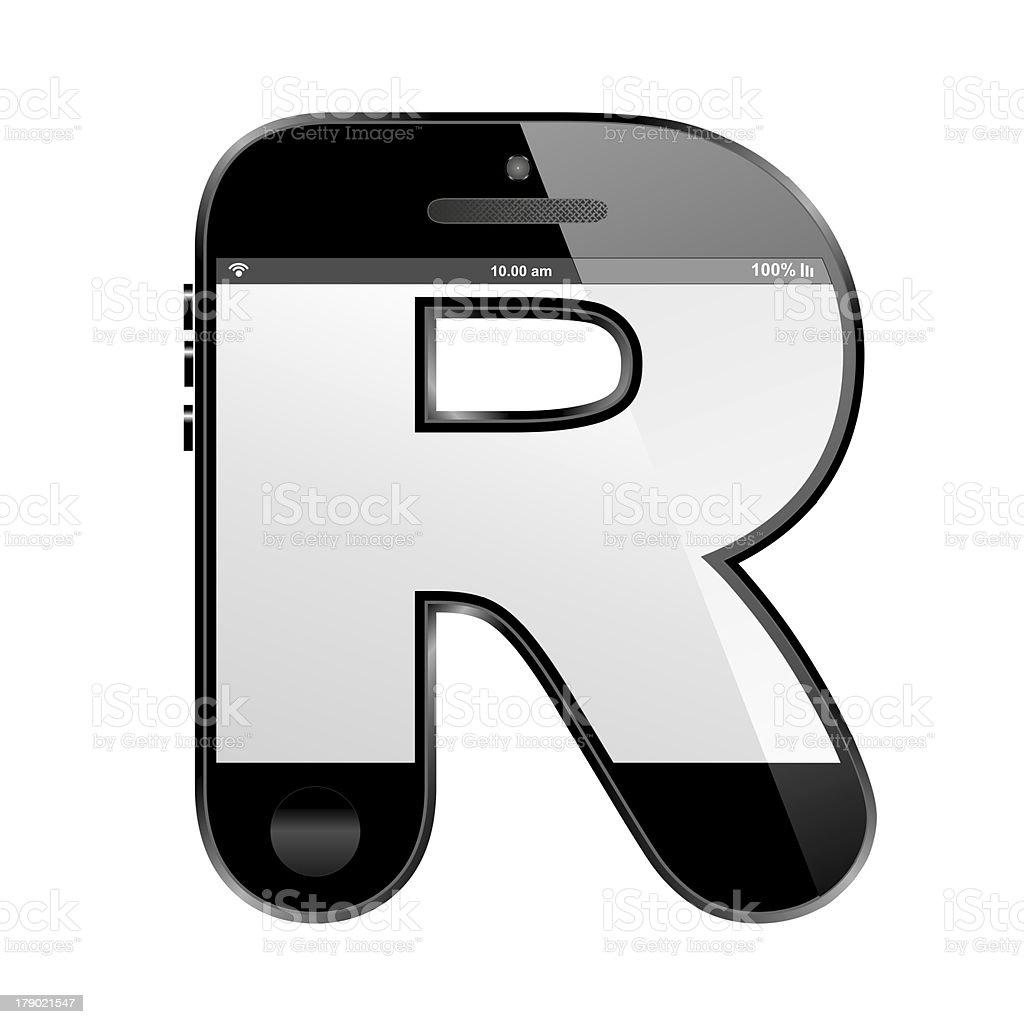 smart phone shaped, alphabet design letter, R royalty-free stock photo