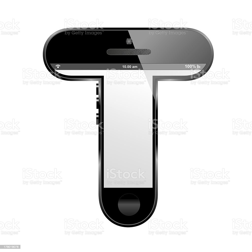 smart phone shaped, alphabet design letter, T stock photo