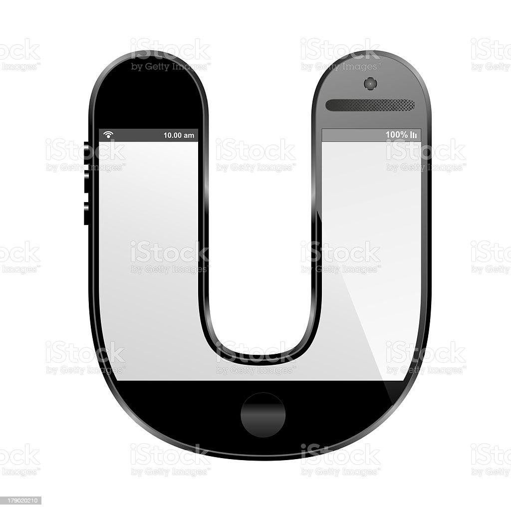 smart phone shaped, alphabet design letter, U royalty-free stock photo