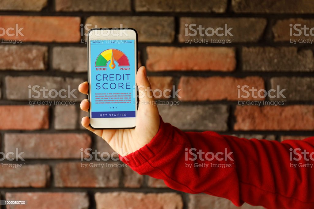 Smart Phone Showing Credit Score On A Screen Stock Photo - Download Image  Now