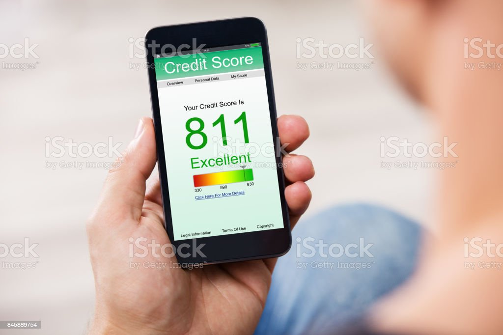 Smart Phone Showing Credit Score On A Screen stock photo