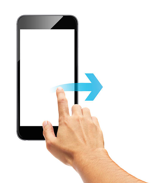 Smart phone touch - scroll arrow Smart phone touch - scroll arrow smart card stock pictures, royalty-free photos & images