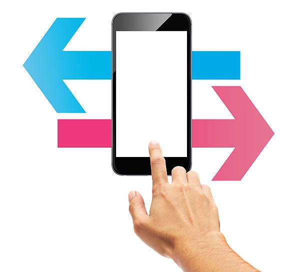 fais défiler l'écran tactile de téléphone intelligent flèche - gaucher photos et images de collection
