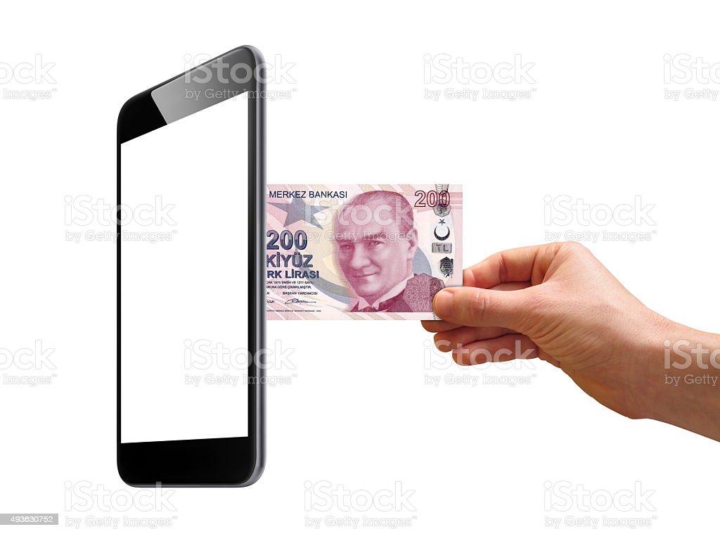 Smart phone - Turkish Lira stock photo